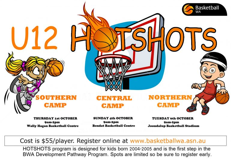 Under 12 Hots Shots camps are on these school holidays