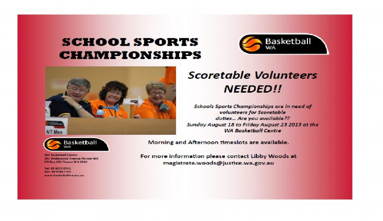 School Sports Championships Scoretable Volunteers Needed