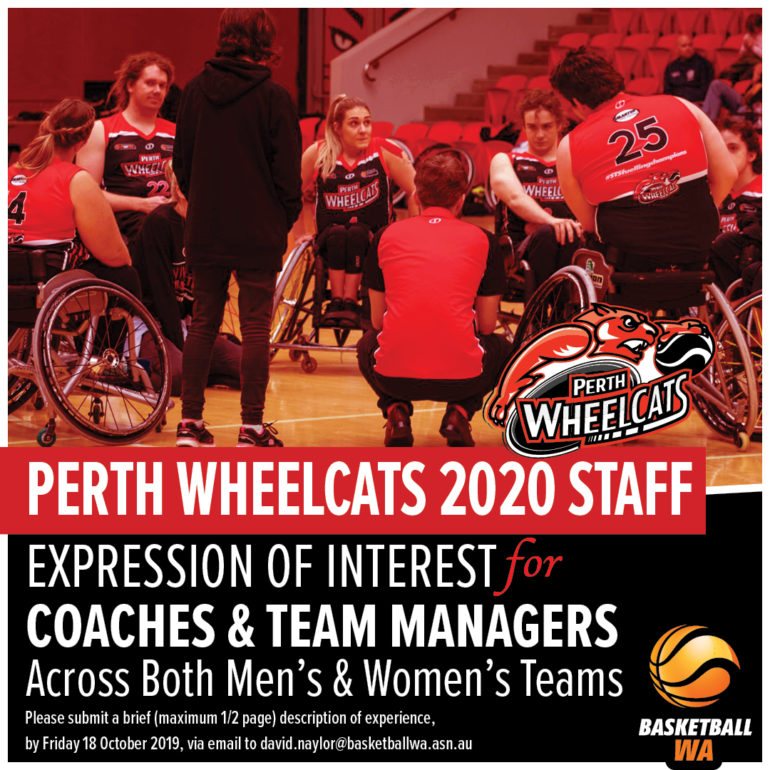 Expression of Interest for Perth Wheelcats 2020 Staff