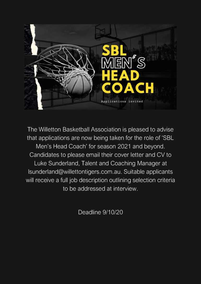 SBL Men's Head Coach – Applications Invited