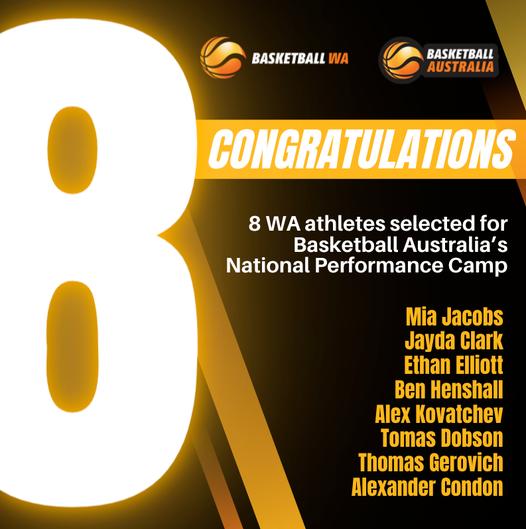 8 WA Athletes selected for Basketball Australia's National Performance Camp